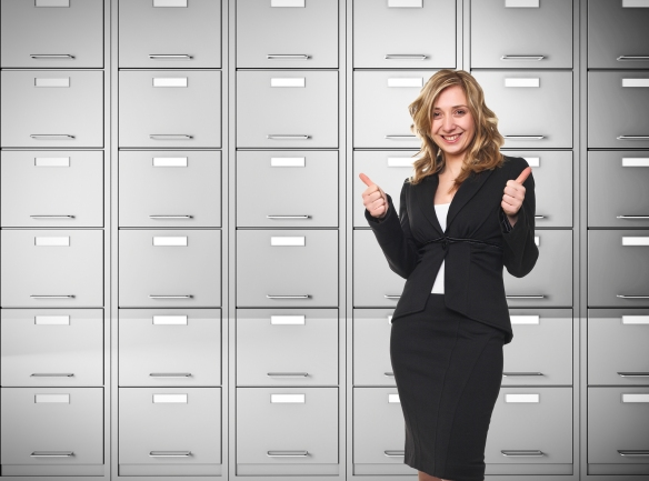 businesswoman-thumbs-up-and-files