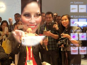 Panasonic Smart Mirror http://recode.net/2015/01/06/ces-snapshot-new-make-up-and-a-mustache-with-panasonic-smart-mirror/